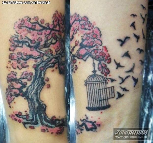 Tatuaje De árboles Cerezos Jaulas