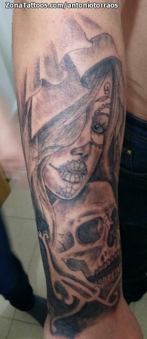 Tatuaje De Catrinas Calaveras Antebrazo