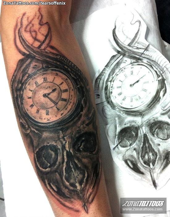 Tatuaje De Calaveras Góticos Relojes