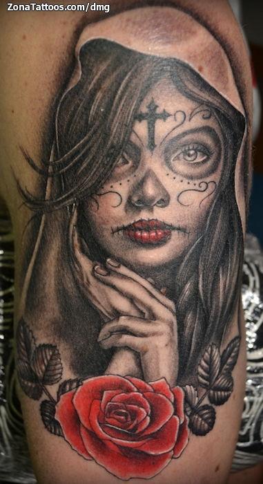 Tatuaje De Catrinas Rosas