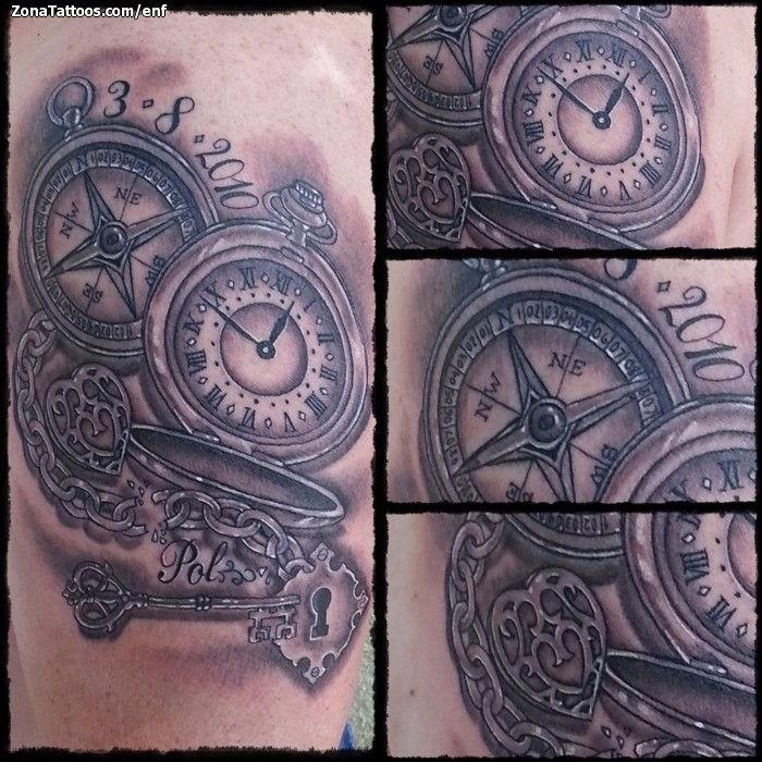 Tatuaje De Brújulas Relojes Llaves