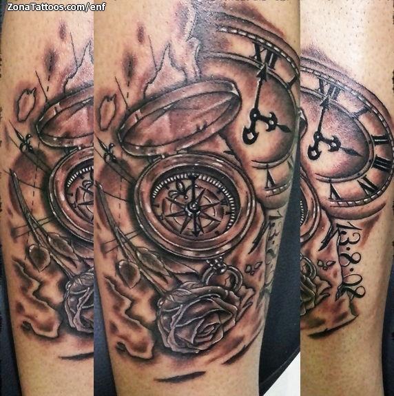 Tatuaje De Brújulas Relojes Rosas