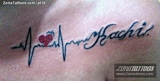Tatuaje De Electrocardiogramas Corazones Letras
