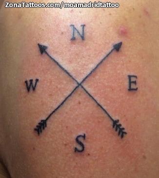Tatuaje De Rosa De Los Vientos Flechas
