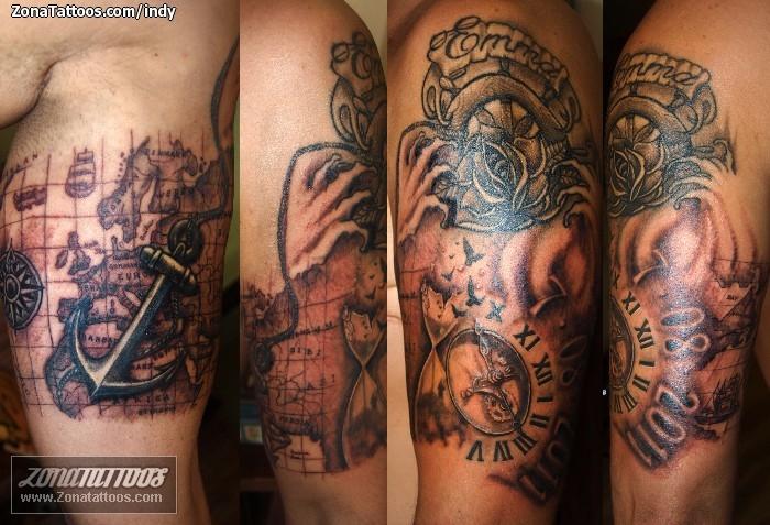 Tatuaje De Mapas Timones Anclas