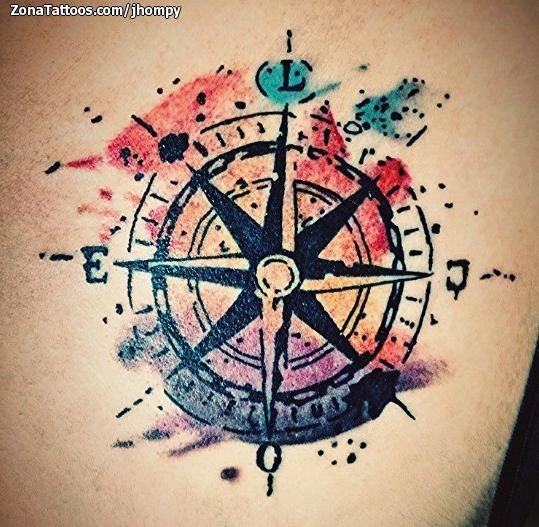 Tatuaje De Rosa De Los Vientos Acuarela