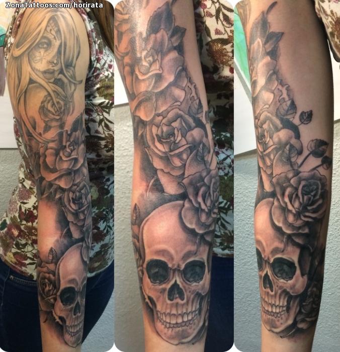 Tatuaje De Calaveras Flores Rosas