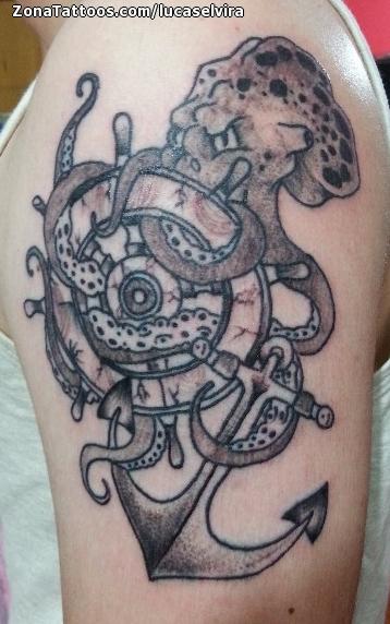 Tatuaje De Pulpos Timones Anclas