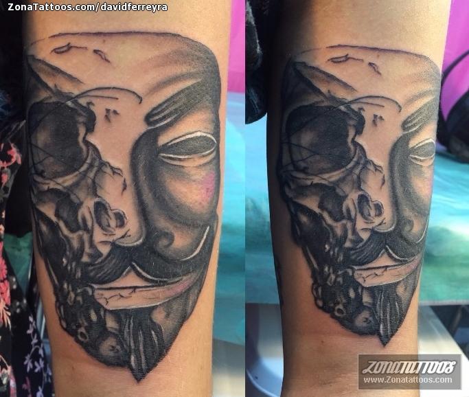 Tattoo Of V For Vendetta Masks Skulls