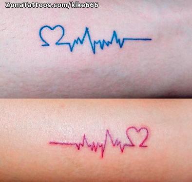 Tatuaje De Corazones Electrocardiogramas Parejas