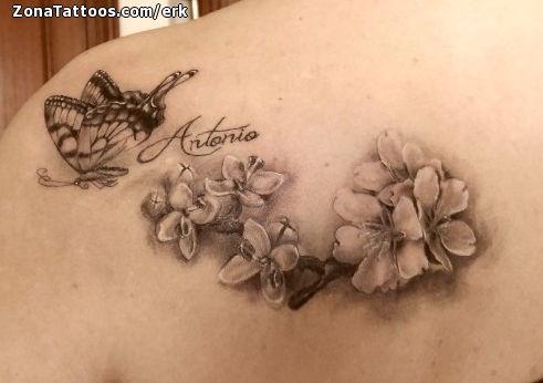 Tatuaje De Flores Mariposas Almendros