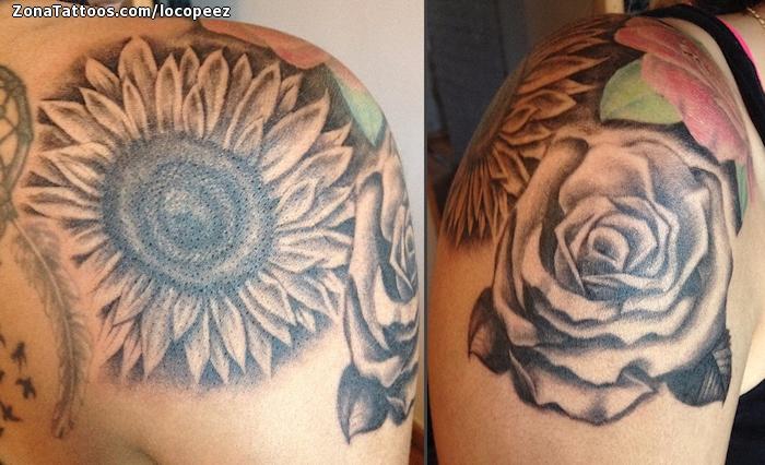 Tattoo Of Sunflowers Roses Flowers