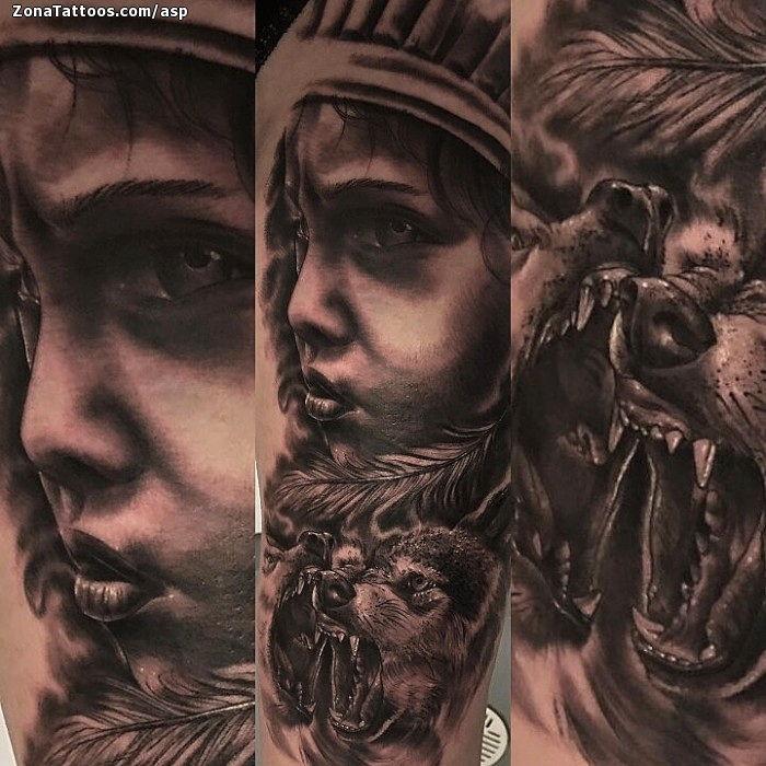 Tatuaje De Indios Lobos Animales