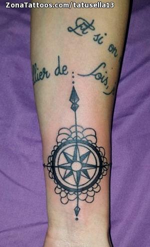 Tatuaje De Rosa De Los Vientos Antebrazo