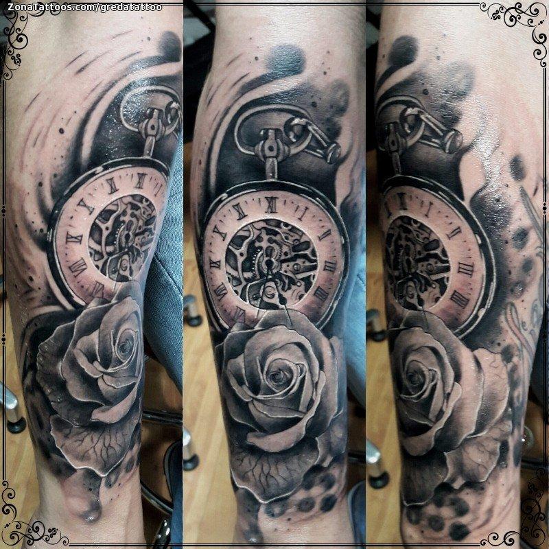 Reloj Con Rosas Tattoo