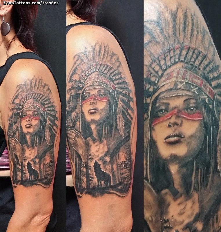 Tatuaje De Indios Lobos Plumas