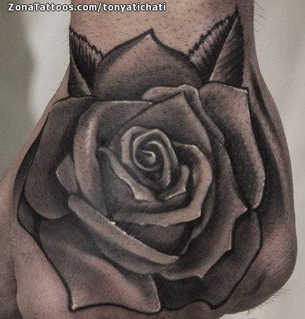 Tatuaje De Rosas Flores Mano