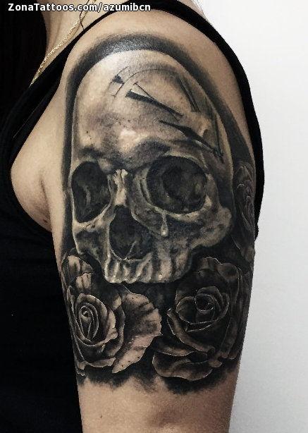 Tatuaje De Calaveras Rosas Flores