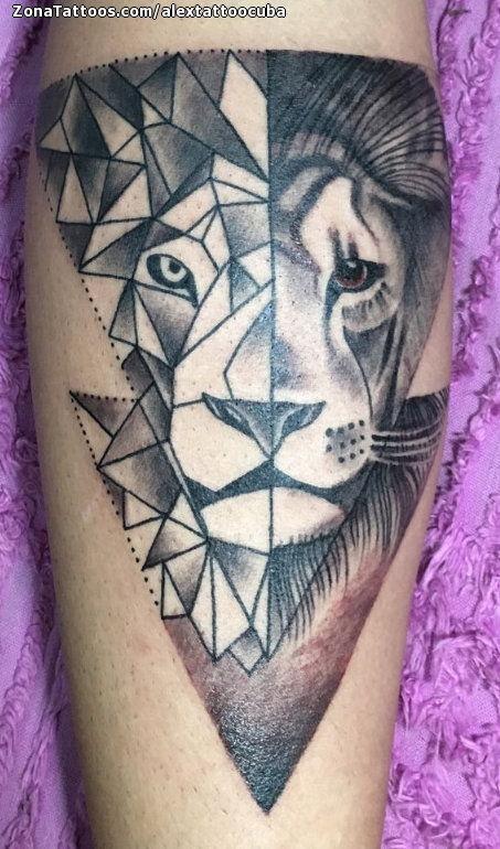 Tatuaje De Leones Geométricos Animales