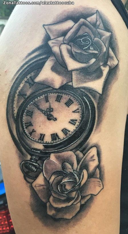 Tatuaje De Relojes Flores Rosas
