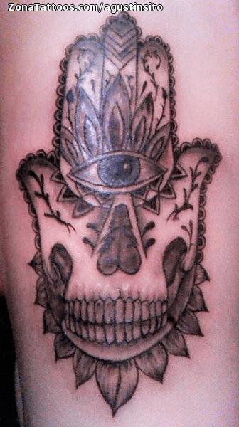 Tattoo Of Hamsa Skulls