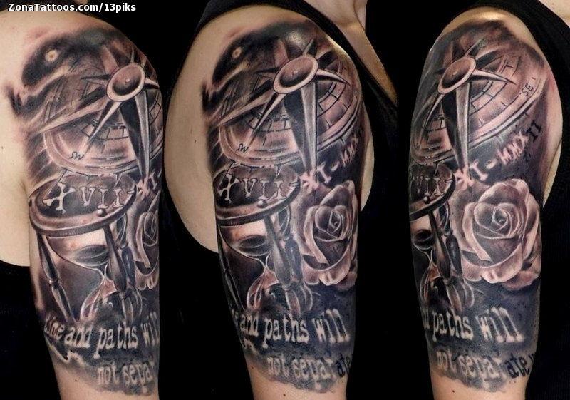 Tatuaje De Relojes De Arena Rosas Rosa De Los Vientos