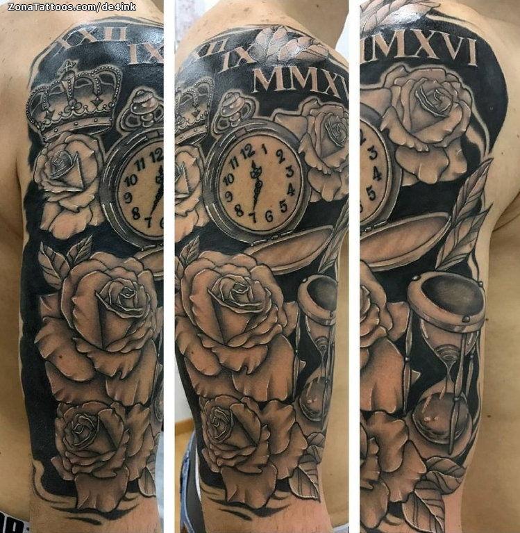Tatuaje De Relojes Rosas Flores