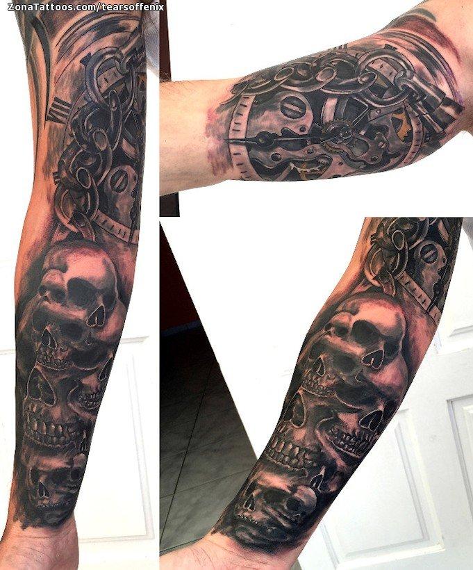 Tatuaje De Relojes Engranajes Calaveras