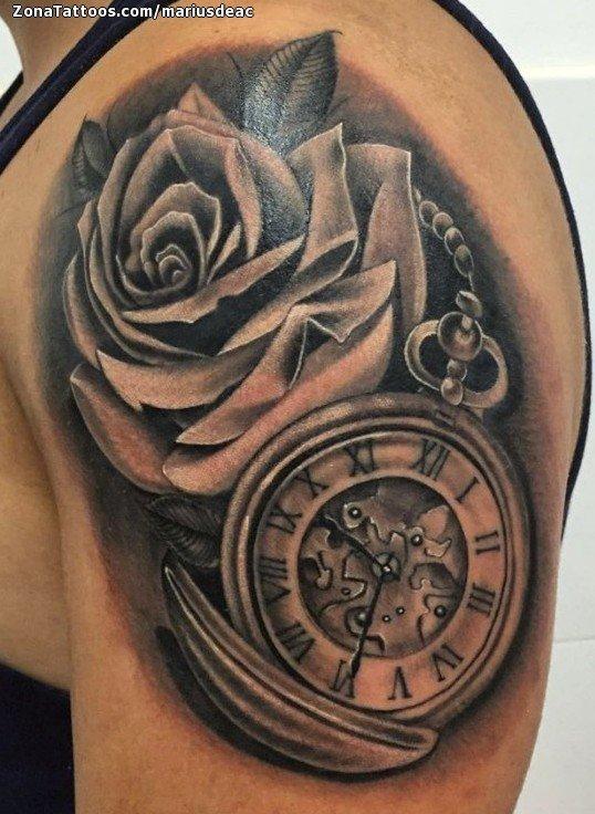 Tatuaje De Rosas Relojes Flores