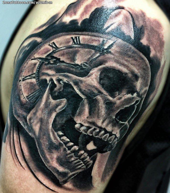 Tatuaje De Calaveras Relojes Góticos