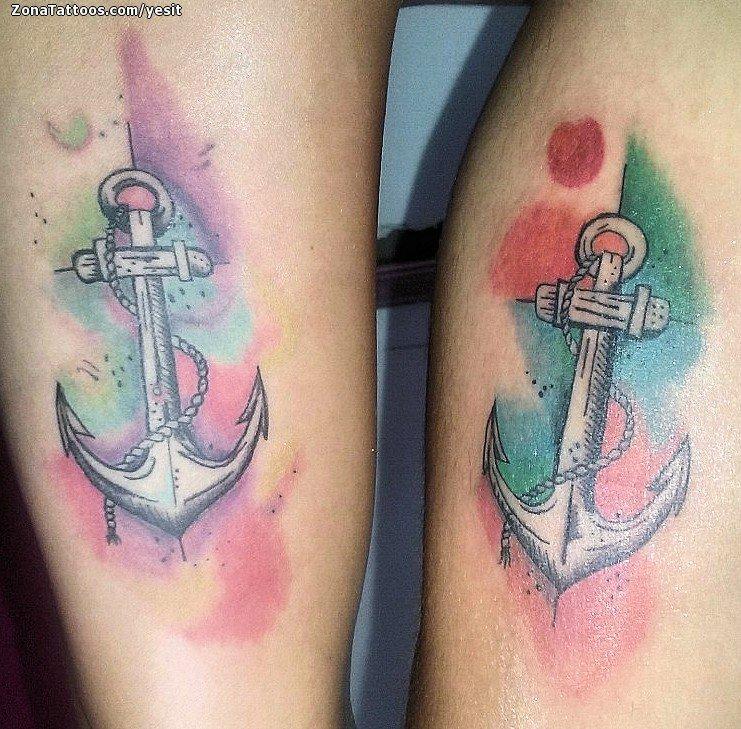 Tatuaje De Anclas Acuarela Parejas