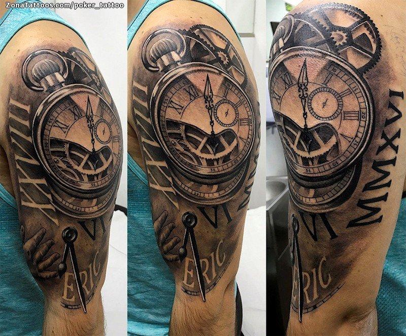 Tatuaje De Relojes Engranajes Números Romanos