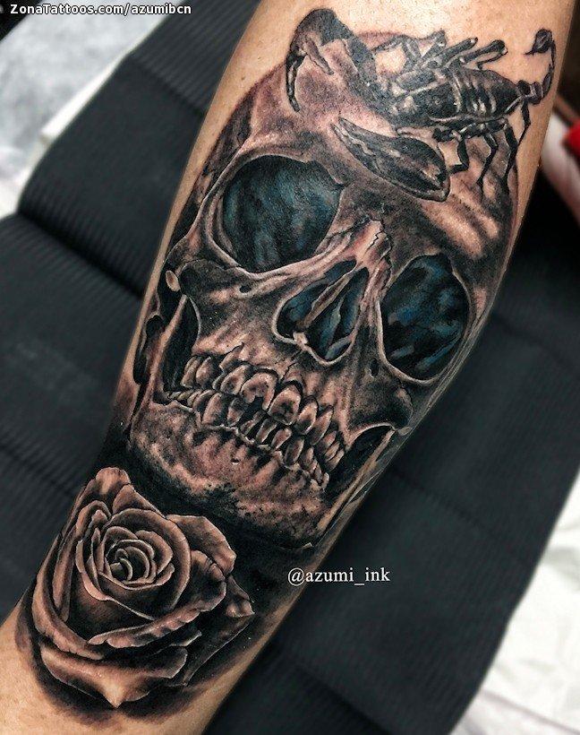 Tatuaje De Calaveras Rosas Escorpiones