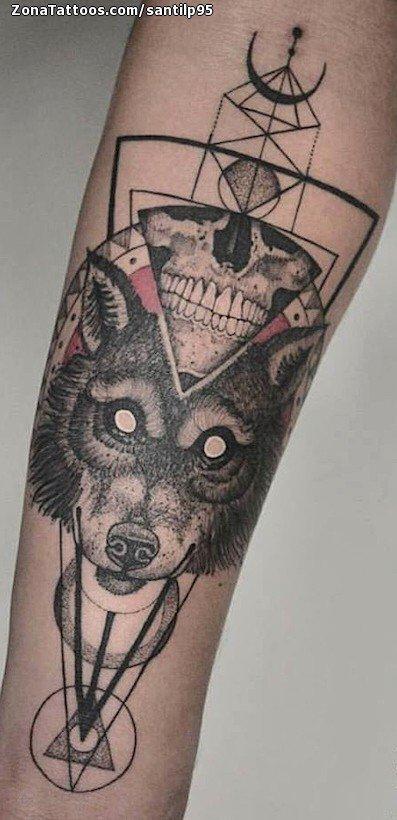 Tatuaje de lobos calaveras geom tricos for Calavera lobo