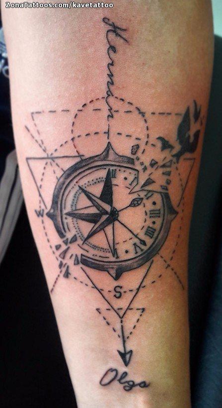 Tatuaje De Brújulas Relojes Geométricos