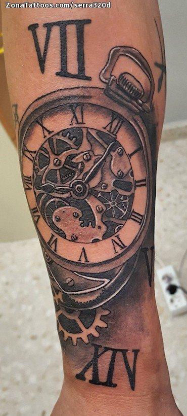 Tatuaje De Relojes Engranajes Numeros Romanos