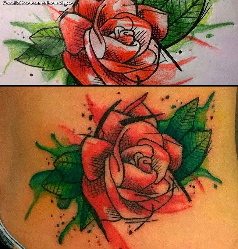 Tatuaje De Rosas Flores Acuarela