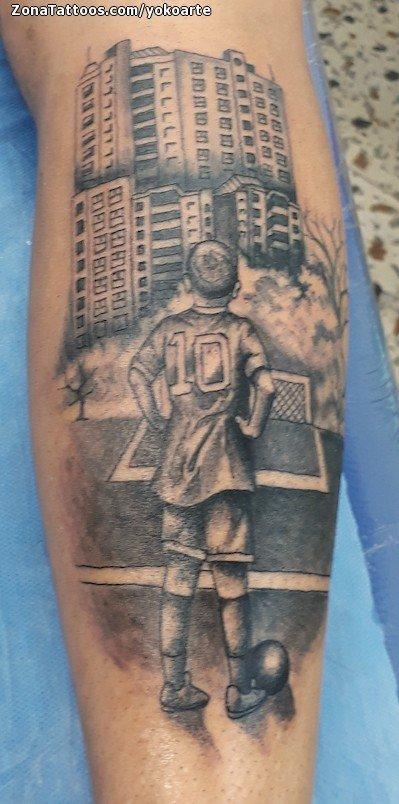 Tatuaje De Fútbol Edificios Deportes