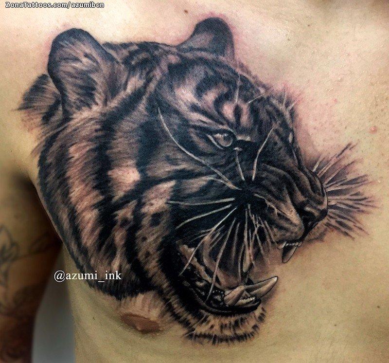 Tatuaje De Tigres Animales Pecho