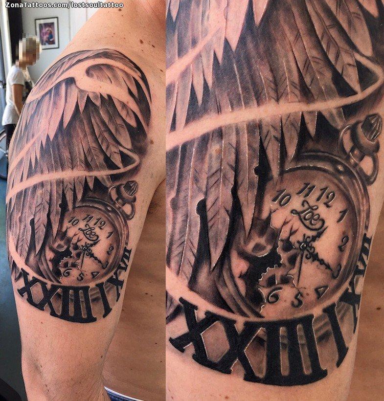 Tatuaje De Relojes Alas Numeros Romanos