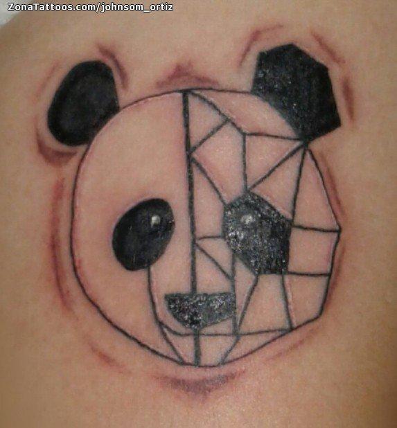 Tatuaje De Osos Panda Geométricos