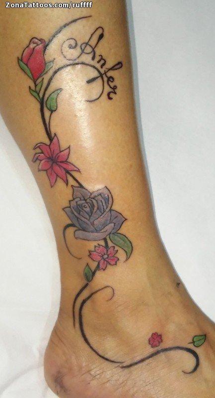 Tattoo Of Vines Flowers Ankle