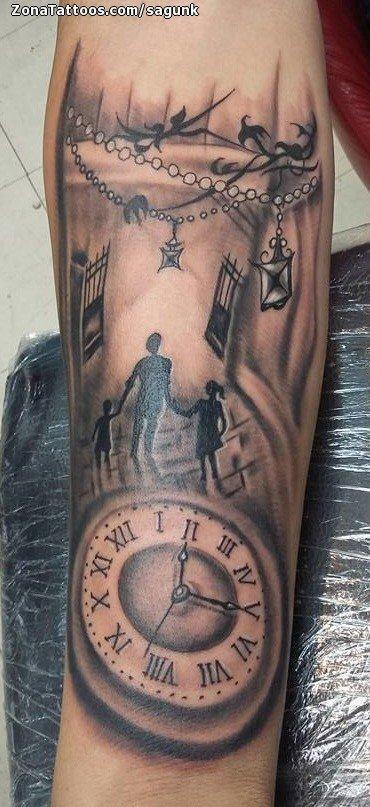 Tatuaje De Relojes Personas Siluetas
