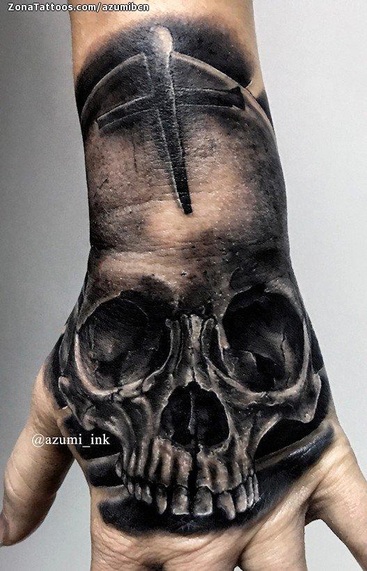 Tatuaje De Calaveras Góticos Mano