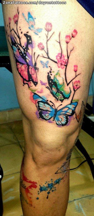 Tatuaje De Mariposas Acuarela Pierna