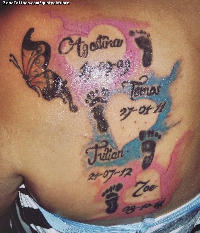 Tatuaje De Acuarela Corazones Nombres