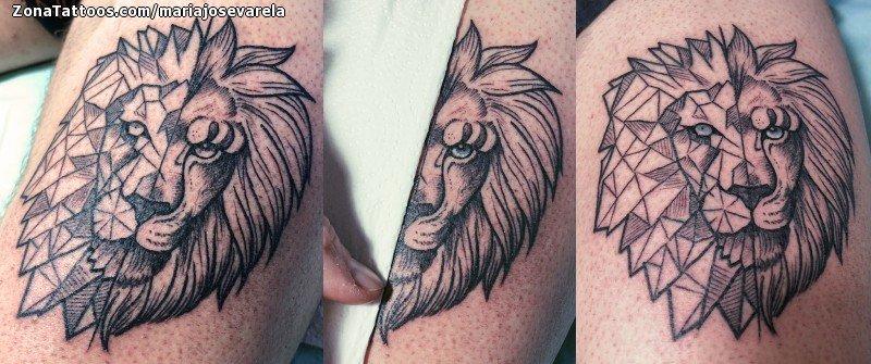 Tatuaje De Leones Animales Geométricos