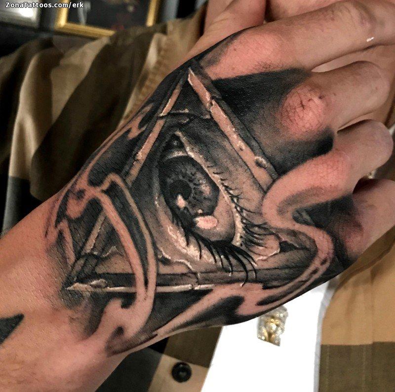 Tatuaje De Illuminati Ojos Mano