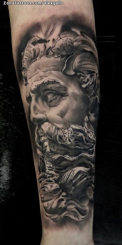 Tattoo Of Poseidon Sculptures Forearm