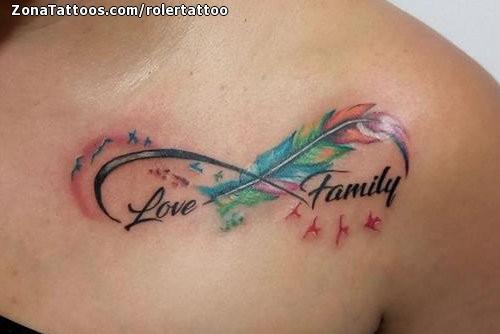 Tatuaje De Plumas Infinitos Familia
